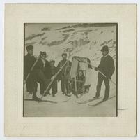 """Miss Charlotte E. Ely's Winter Turnout,"" showing Charlotte in sled being pulled by men on skiis"