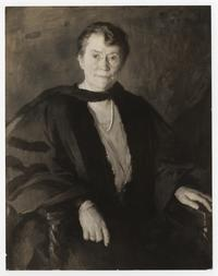 Portrait painting of Mary E. Woolley in her academic robe, seated