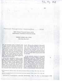 Human Congenital Anomalies, 1968: Sixth Baxter-Travenol Lecture of the International Anesthesia Research Society