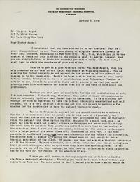 Letter from Ralph M. Waters to Virginia Apgar