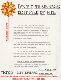 Flier announcing benefit for businesses destroyed by South Hadley Center fire, ca. 1985