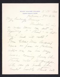 Letter from Mary Woolley to Jeannette Marks, 1904 January 25