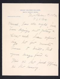 Letter from Mary Woolley to Jeannette Marks, 1904 March 25
