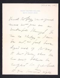 Letter from Mary Woolley to Jeannette Marks, 1904 April 22