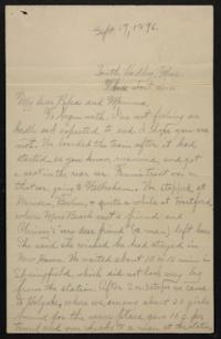 Letter from Helen Newton to her parents, circa 1896 September 17