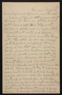 Letter from Helen Newton to her family, circa 1896 September 18