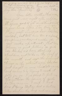 Letter from Helen Newton to her mother, circa 1896 September 22