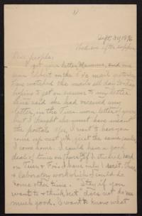 Letter from Helen Newton to her family, 1896 September 30