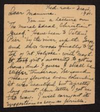 Partial postcard from Helen Newton to her mother