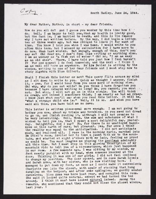 Letter from Harriet Landon to her family