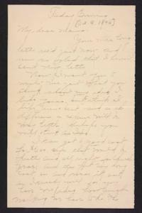 Letter from Amy Roberts Jones to  Mary A. Roberts, 1896 October 9