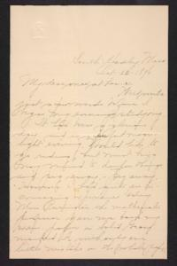 Letter from Amy Roberts Jones to her family, 1896 October 22