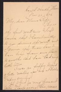 Letter from Amy Roberts Jones to  Augustus H. Roberts and Mary A. Roberts, 1896 November 29