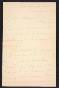 Letter from Amy Roberts Jones to  Augustus H. Roberts and Mary A. Roberts, 1896 December 13