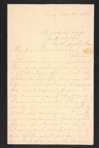 Letter from Amy Roberts Jones to Augustus H. Roberts and Mary A. Roberts, 1897 February 22