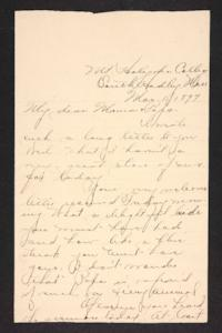 Letter from Amy Roberts Jones to Augustus H. Roberts and Mary A. Roberts, 1897 March 1