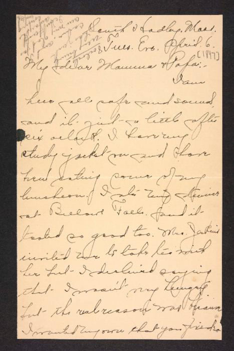 Letter from Amy Roberts Jones to Augustus H. Roberts and Mary A. Roberts, 1897 April 6