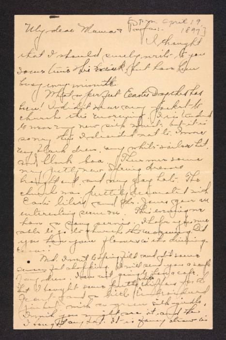 Letter from Amy Roberts Jones to Augustus H. Roberts and Mary A. Roberts, 1897 April 19