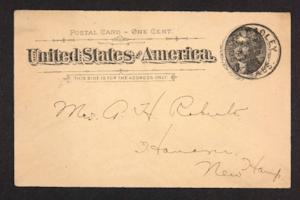 Postcard from Amy Roberts Jones to Mary A. Roberts, 1897 September 21