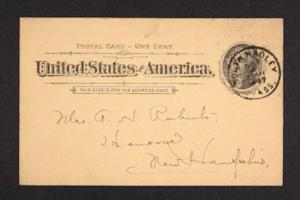 Postcard from Amy Roberts Jones to Mary A. Roberts, 1897 October 4