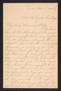 Letter from Amy Roberts Jones to Augustus H. Roberts and Mary A. Roberts, 1897 November 1