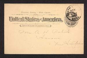 Postcard from Amy Roberts Jones to Mary A. Roberts, 1897 November 8