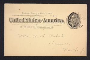 Postcard from Amy Roberts Jones to Mary A. Roberts, 1897 December 1