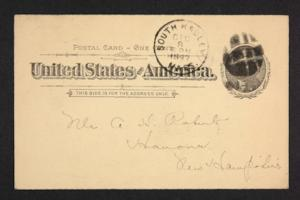 Postcard from Amy Roberts Jones to Mary A. Roberts, 1897 December 9