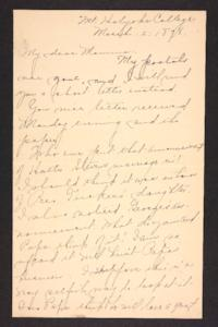 Letter from Amy Roberts Jones to Mary A. Roberts, 1898 March 2