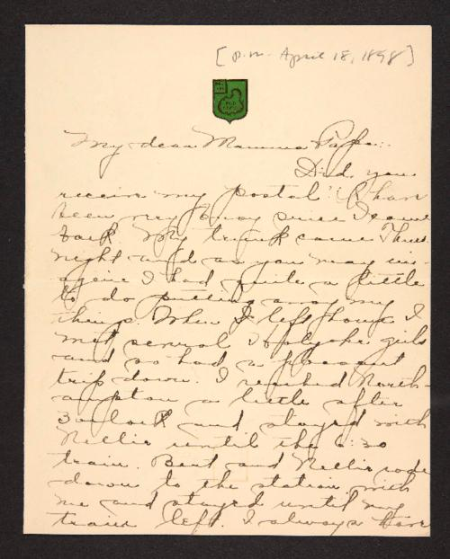 Letter from Amy Roberts Jones to Augustus H. Roberts and Mary A. Roberts, 1898 April 18