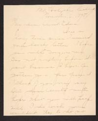Letter from Amy Roberts Jones to her aunt, 1898 November 6