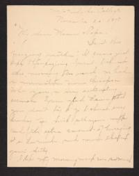 Letter from Amy Roberts Jones to Augustus H. Roberts and Mary A. Roberts, 1898 November 20