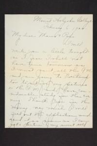 Letters from Amy Roberts Jones to Augustus H. Roberts and Mary A. Roberts, 1900 February 6