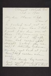 Letter from Amy Roberts Jones to Augustus H. Roberts and Mary A. Roberts, 1900 February 11
