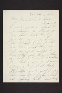 Letter from Amy Roberts Jones to her aunt, 1900 February 12