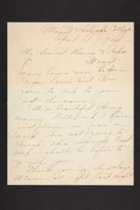 Letter from Amy Roberts Jones to Augustus H. Roberts and Mary A. Roberts, 1900 April 1