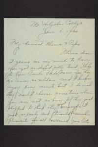 Letter from Amy Roberts Jones to Augustus H. Roberts and Mary A. Roberts, 1900 June 5