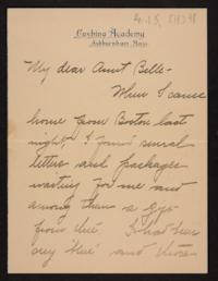 Letter from Florence Polk Holding to her aunt, 1898 April 5