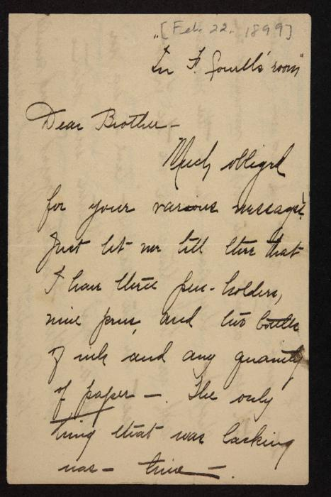 Letter from Florence Polk Holding to her brother, 1899 February 22
