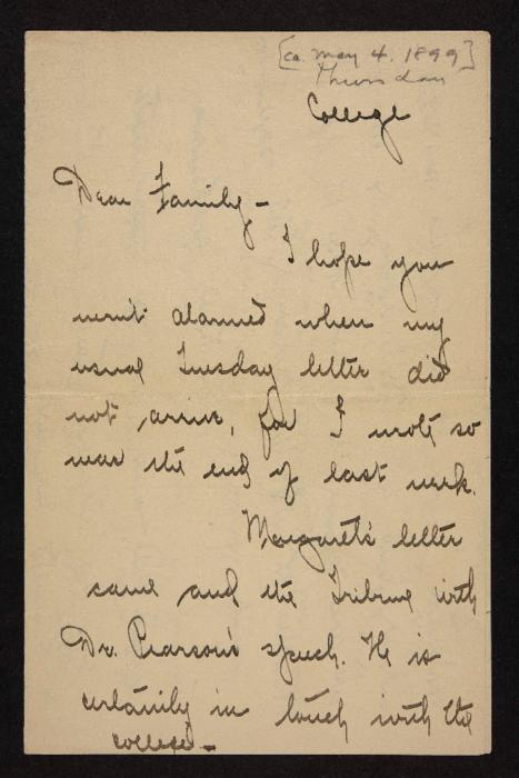 Letter from Florence Polk Holding to her family, 1899 May 4