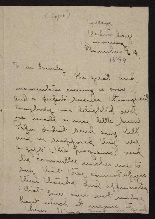 Letter from Florence Polk Holding to her family, 1899 December 6