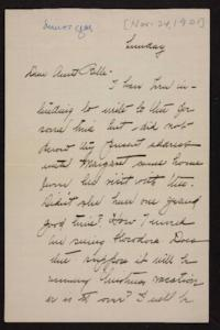 Letter from Florence Polk Holding to her aunt, 1901 November 24