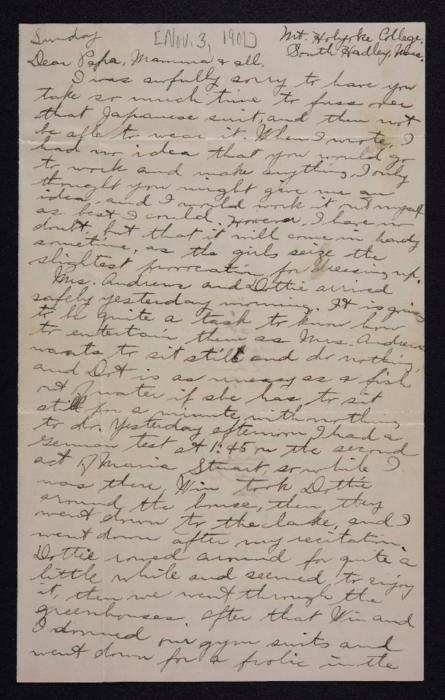 Letter from Edna L. Ferry to Charles A. Ferry and Rosella E. Ferry, 1901 November 3