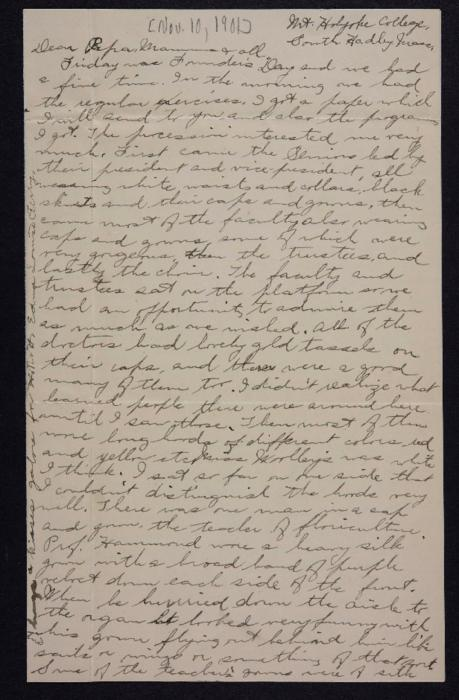 Letter from Edna L. Ferry to Charles A. Ferry and Rosella E. Ferry, 1901 November 10