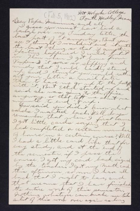Letter from Edna L. Ferry to Charles A. Ferry and Rosella E. Ferry, 1902 February 5
