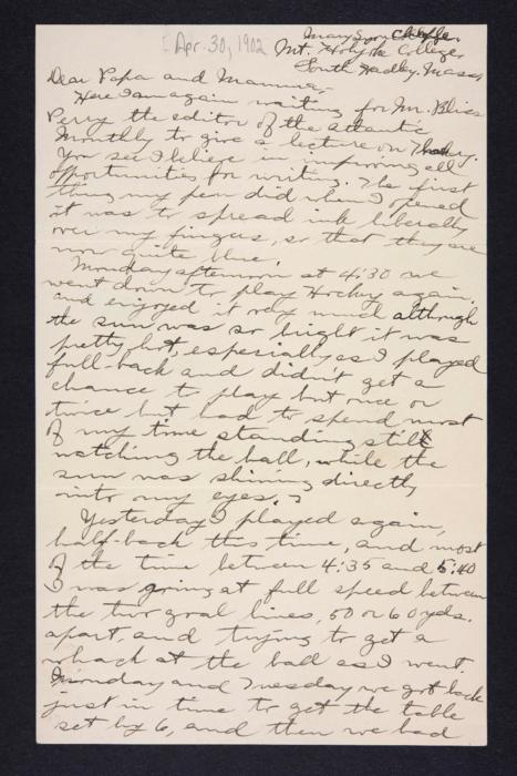 Letter from Edna L. Ferry to Charles A. Ferry and Rosella E. Ferry, 1902 April 30