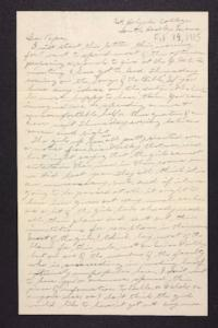 Letter from Edna L. Ferry to Charles A. Ferry, 1905 February 19