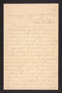 Letter from unidentified correspondent to Amy Roberts Jones, 1897 September 19