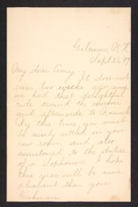 Letter from Fannie Loveland to Amy Roberts Jones, 1897 September 26