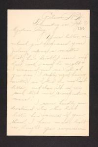 Letter from unidentified correspondent  to Amy Roberts Jones, 1897 September 30